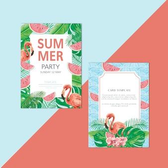 Festa de férias de cartão de convite de verão na praia do sol do mar