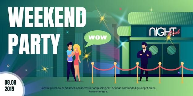 Festa de fim de semana no cartaz de anúncio de vetor plana de boate