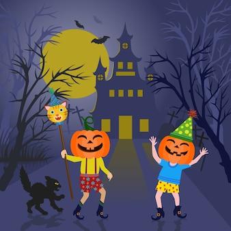 Festa de halloween abóbora fofa.