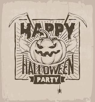 Festa de halloween, banner com abóbora, fantasmas e foice