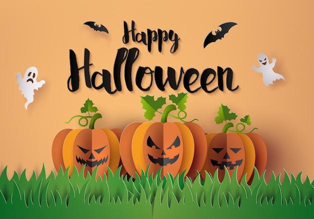 Festa de halloween com abóboras assustadoras.