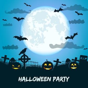 Festa de halloween com enormes lanternas lunares de jack no cemitério de morcegos e corvos