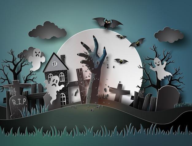 Festa de halloween com fantasma e cemitério em lua cheia
