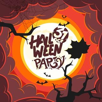 Festa de halloween com inscrição caligráfica