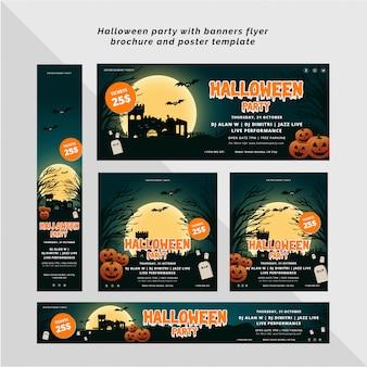 Festa de halloween com modelo de banner, panfleto e cartaz