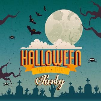 Festa de halloween com morcegos voando e ícones