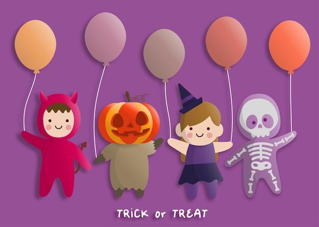 Festa de halloween em estilo de arte de papel com crianças vestindo fantasia de diabo, fantasma, bruxa. cartão de felicitações e cartazes. ilustração vetorial.