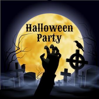 Festa de halloween em um cemitério assustador sob lua cheia