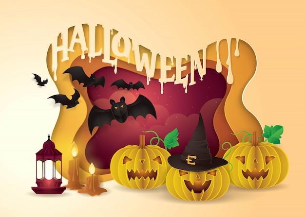 Festa de halloween feliz, abóbora assustadora, lanterna e monstro de morcegos