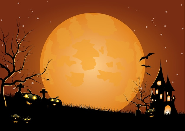 Festa de halloween, lua cheia, casa assombrada, abóboras no cemitério. fundo