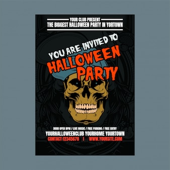 Festa de halloween noite fundo vertical com crânio