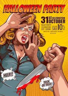 Festa de halloween, poster de terror em quadrinhos, mão segurando uma faca e mulher chocada com muito medo