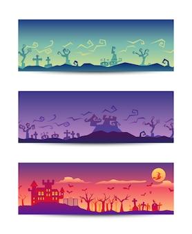 Festa de halloween roughen gradiente banner conjunto