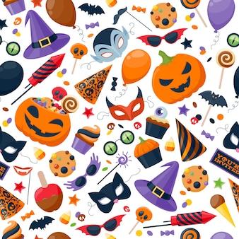Festa de halloween sem costura colorida de fundo