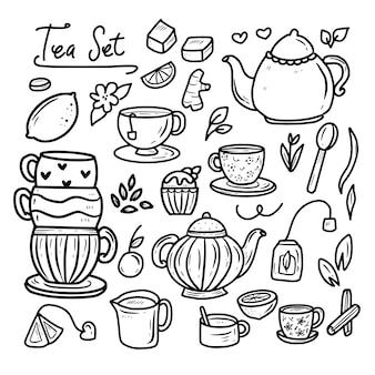 Festa de hora do chá doodle coleção com bolo