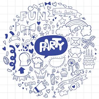 Festa de mão desenhada doodle feliz aniversário ornamentos fundo ilustração padrão