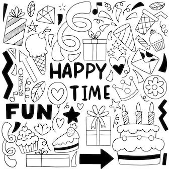 Festa de mão desenhada doodle feliz aniversário ornamentos ilustração