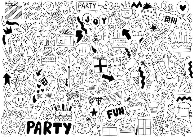 Festa de mão desenhada doodle feliz aniversário ornamentos padrão de fundo