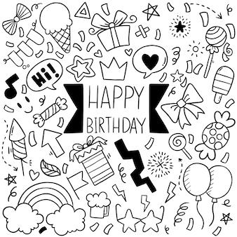 Festa de mão desenhada doodle feliz aniversário ornamentos