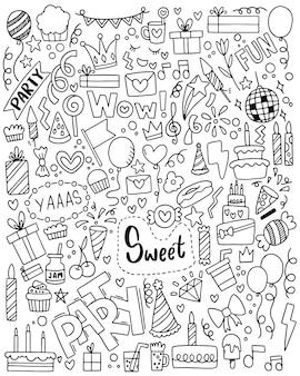 Festa de mão desenhada doodle feliz aniversário