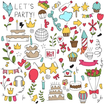 Festa de mão desenhada doodle feliz aniversário.