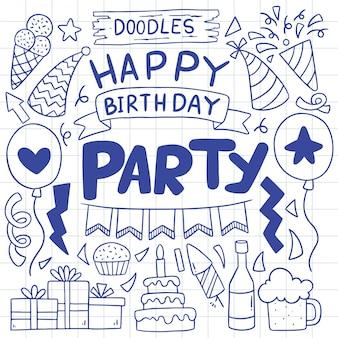Festa de mão desenhada doodle ilustração de ornamentos de feliz aniversário