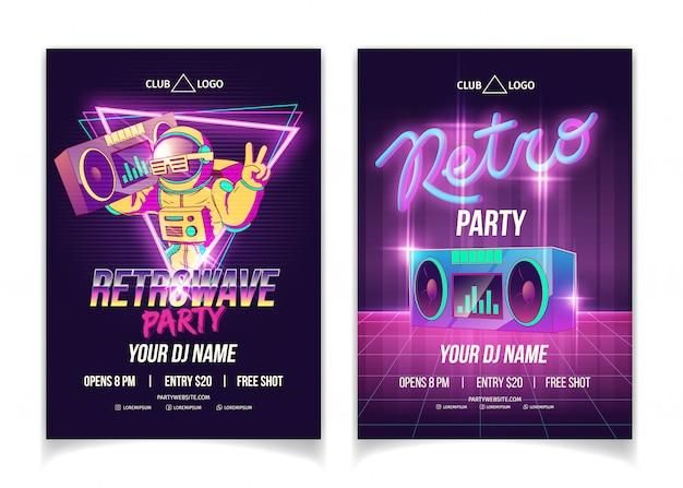 Festa de música retrowave no modelo de cartaz, folheto ou cartaz de anúncio de desenho animado boate em cores neon