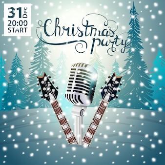 Festa de natal. cartaz moderno e brilhante com guitarras e microfone