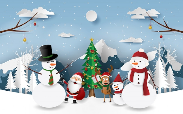 Festa de natal com papai noel e amigos