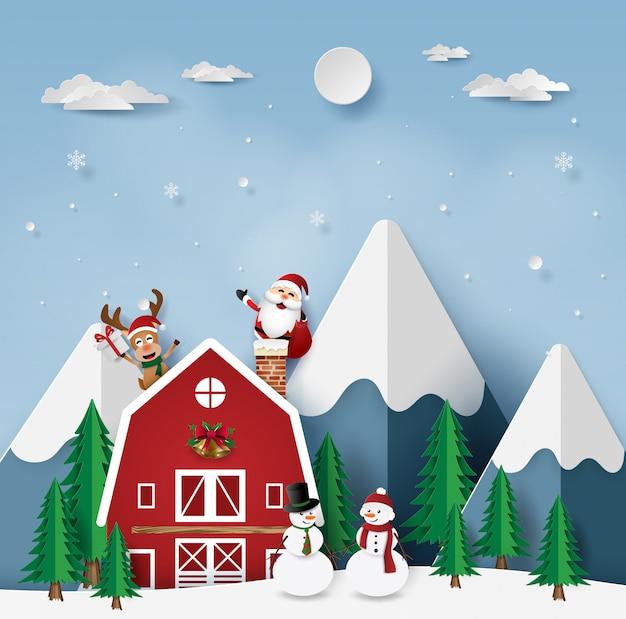 Festa de natal com papai noel na casa vermelha