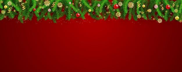 Festa de natal e feliz ano novo fundo de banner vermelho.