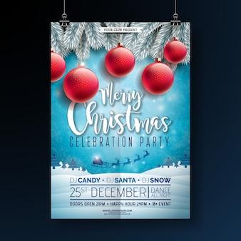 Festa de natal flyer design com tipografia e elementos do feriado