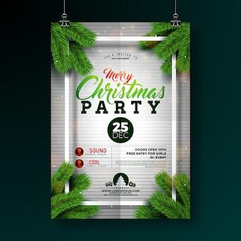 Festa de natal flyer design com tipografia e ramo de pinheiro