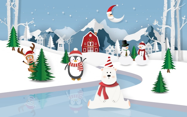 Festa de natal na cidade de neve