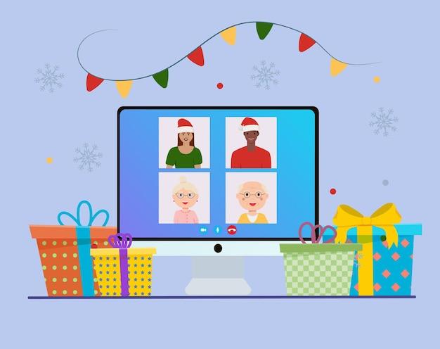 Festa de natal online pessoas comemorando o ano novo, amigos felizes no chat de vídeo