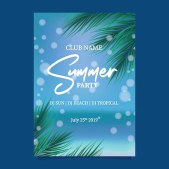 Festa de praia de verão com céu azul paraíso do oceano