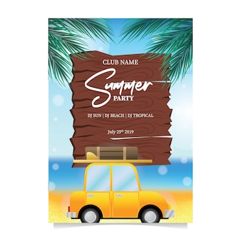 Festa de praia de verão com viagens de carro de férias