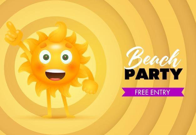Festa de praia, letras de entrada grátis com personagem de desenho animado sol