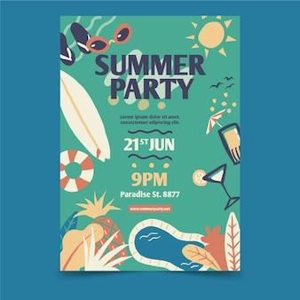 Festa de verão com cartaz de elementos de praia