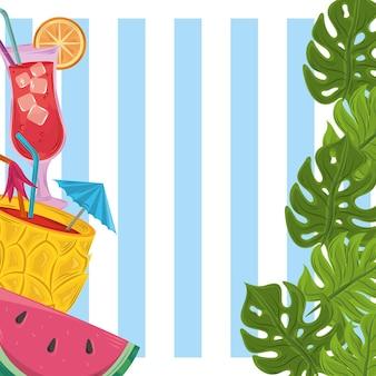 Festa de verão com coquetéis tropicais e frutas