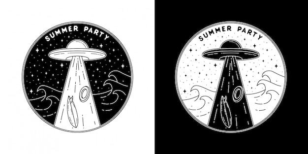 Festa de verão com design de crachá de ufo monoline