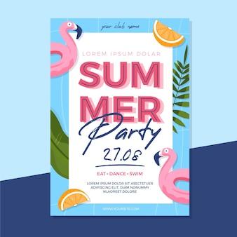 Festa de verão design plano flyer
