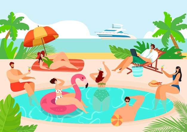 Festa de verão na piscina perto da água da praia
