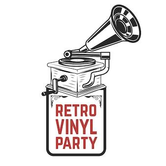 Festa de vinil retrô. gramofone de estilo vintage. elemento para o logotipo, etiqueta, emblema, sinal, crachá. ilustração