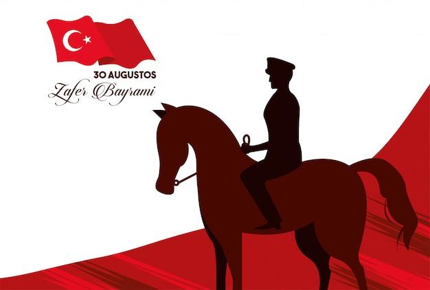 Festa de zafer bayrami com o soldado no cavalo e na bandeira