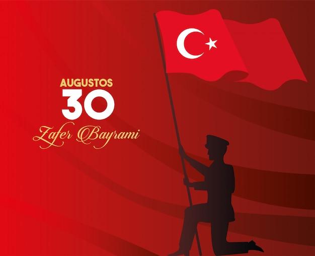 Festa de zafer bayrami com soldado agitando bandeira