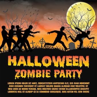 Festa de zumbi de halloween com zumbis escapar