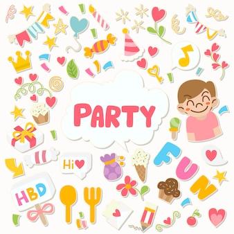 Festa desenhada à mão doodle feliz aniversário