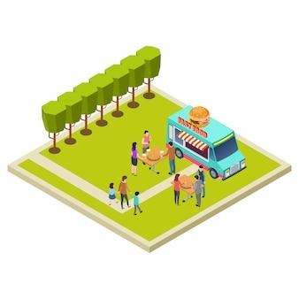 Festa do bairro no parque com ilustração de localização vetorial isométrica de hambúrgueres