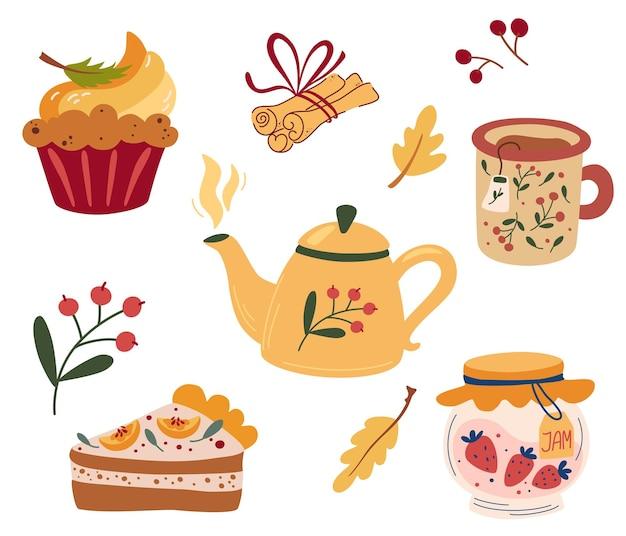 Festa do chá aconchegante. serviço de chá: bules, torta de abóbora, muffin, xícara de chá quente, geléia e canela. serviço de chá, flores no jardim e lanches. ilustração em vetor plana.
